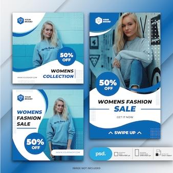 Instagram stories e feed post bundle marketing de negócios de moda Psd Premium