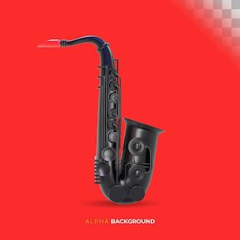 Instrumento musical saxofone jazz. ilustração 3d