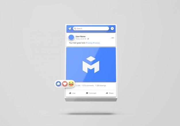 Interface 3d da maquete de mídia social do facebook