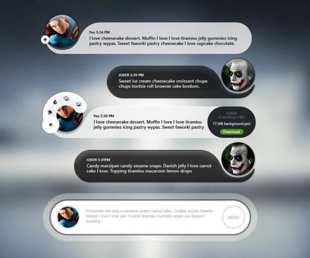 Interface com o usuário móvel bate-papo com avatar