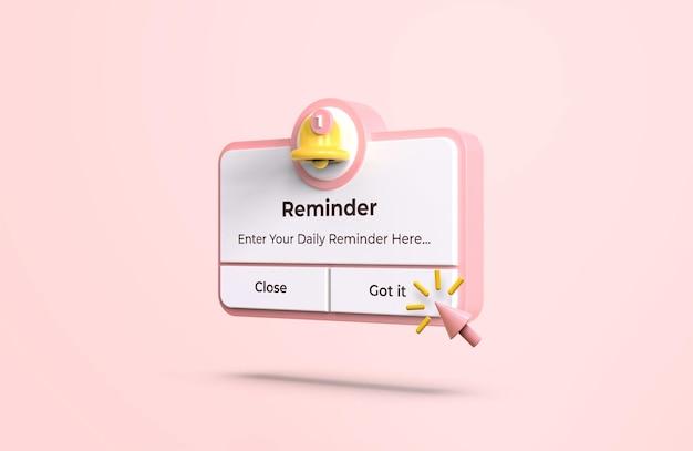 Interface de lembrete rosa em maquete de design 3d