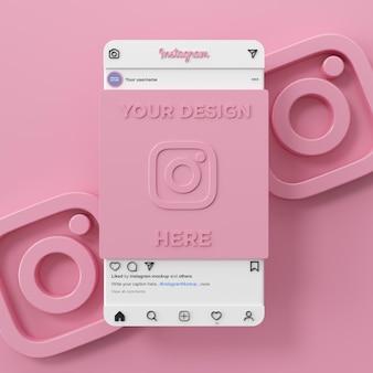 Interface de maquete de mídia social do instagram 3d render