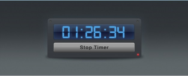Interface de temporizador widget com blue numbers digital