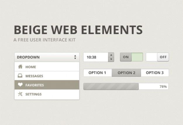 Interface de usuário bege kit de material psd