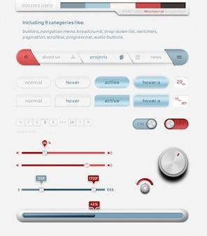 Interface de usuário simples kit de material psd