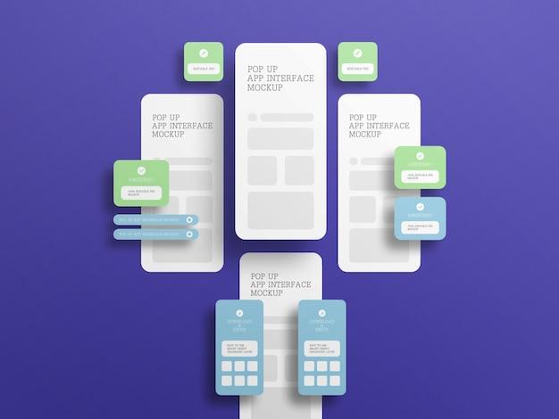 Interface do aplicativo com maquete de tela pop-up