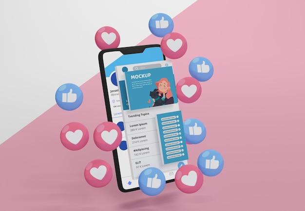 Interface do aplicativo de mídia social no dispositivo de simulação