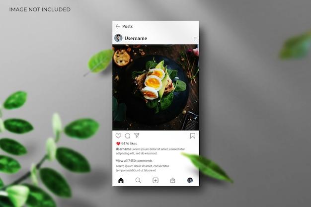 Interface do instagram para maquete de postagem de mídia social