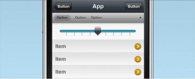 Interface do iphone com o slider selector