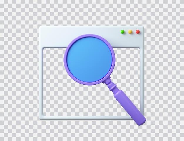 Interface do navegador com barra de pesquisa e modelo vazio de lupa