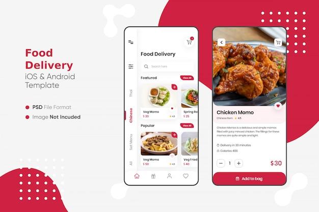 Interface do usuário do aplicativo de entrega de comida