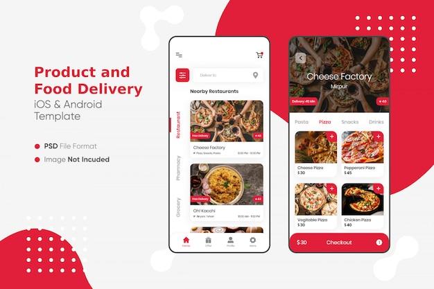 Interface do usuário do aplicativo de entrega de produtos e alimentos