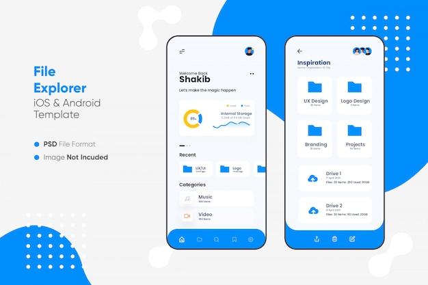 Interface do usuário do aplicativo explorador de arquivos