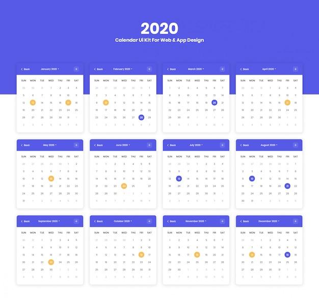 Interface do usuário do calendário 2020 para o projeto de design de aplicativos web e móvel