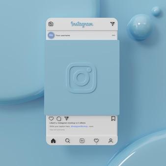 Interface ui ux de maquete de post de mídia social do instagram em fundo azul renderização 3d