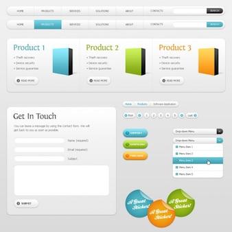Interface web em tons de cinza com detalhes de cores