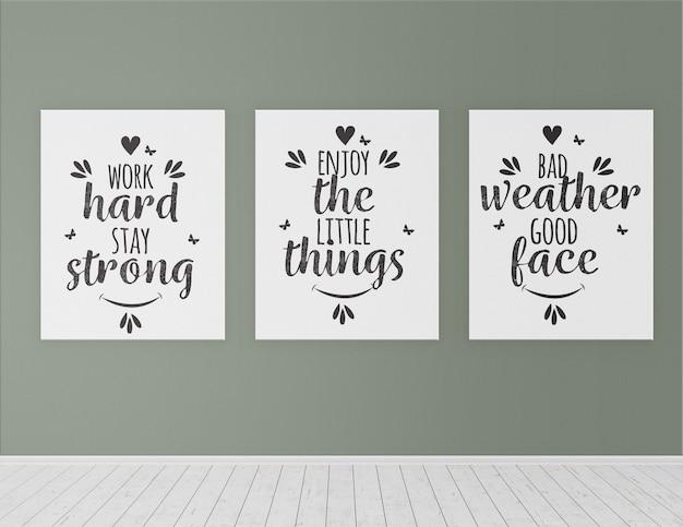 Interior ainda vida com maquetes de três cartazes
