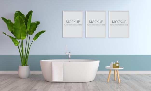 Interior azul do banheiro com maquete de quadro