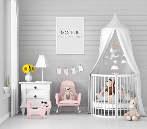 Interior cinza do quarto infantil com maquete da moldura