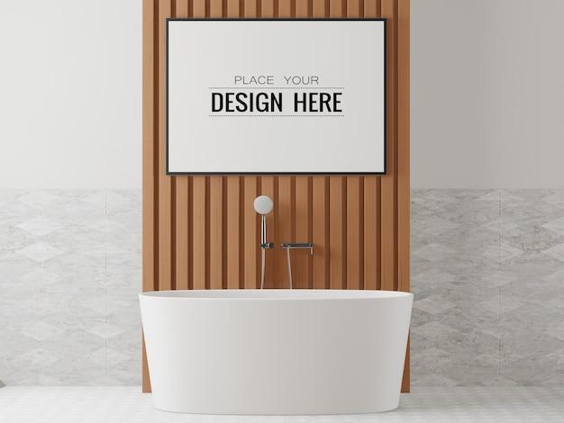 Interior da maquete da moldura do pôster em um banheiro