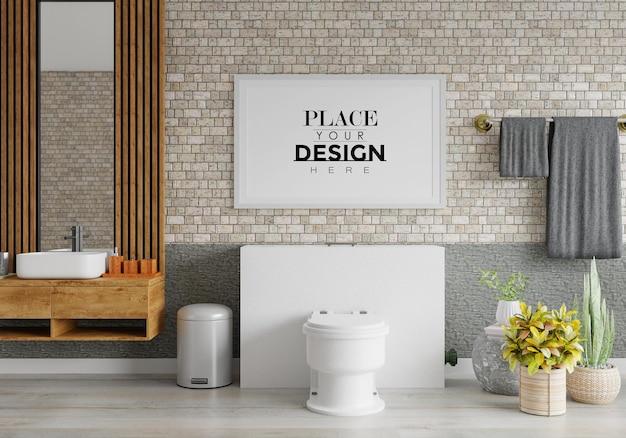 Interior da maquete da moldura do pôster em um banheiro Psd grátis