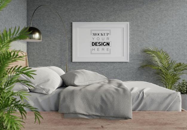 Interior da maquete da moldura do pôster em um quarto