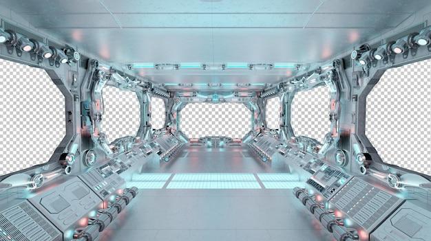 Interior da nave espacial com maquete de janela isolada