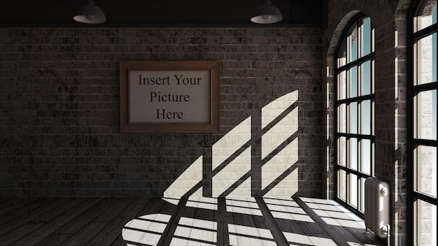 Interior da sala 3d simulado acima com moldura vazia