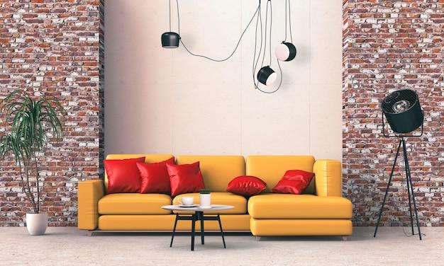 Interior da sala de estar com sofá em renderização 3d Psd Premium