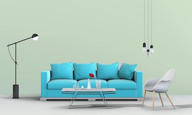 Interior da sala de estar com sofá em renderização 3d
