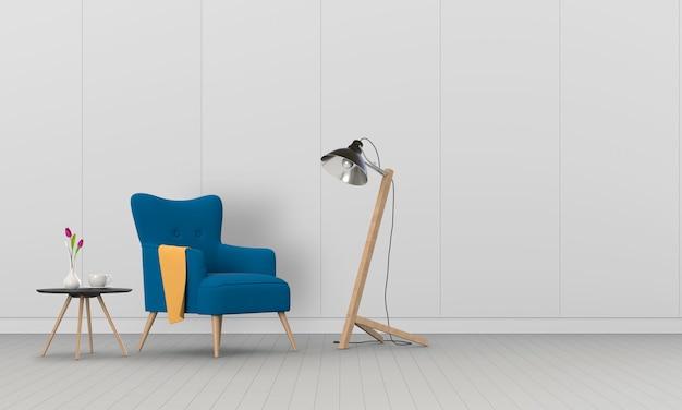 Interior da sala de estar em estilo moderno com poltrona