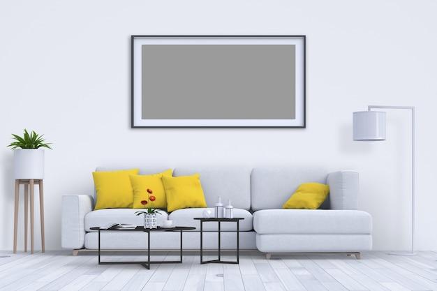 Interior da sala de estar em estilo moderno com renderização de sofá e decoração