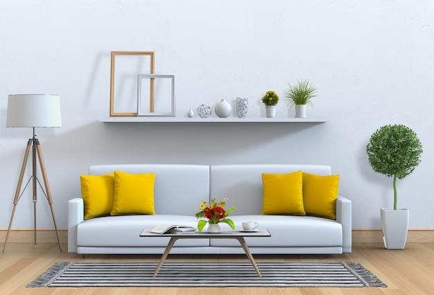 Interior da sala de estar em estilo moderno com sofá e decorações.