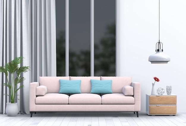 Interior da sala de estar em estilo moderno com sofá e decorações Psd Premium