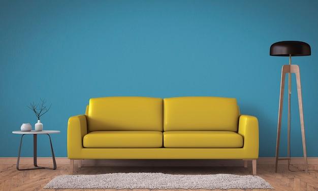 Interior da sala de estar em estilo moderno com sofá e decorações