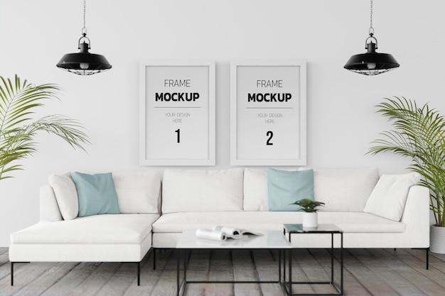 Interior de casa de maquete de renderização 3d com elementos de decoração