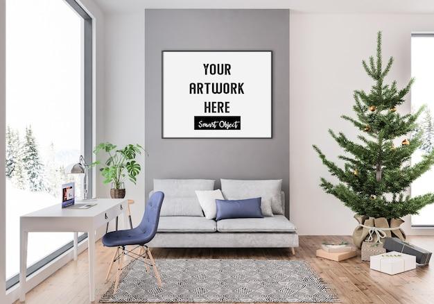 Interior de natal com maquete horizontal