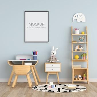Interior de quarto infantil azul com maquete de quadro
