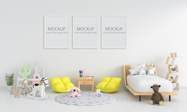 Interior de quarto infantil branco com maquete de moldura