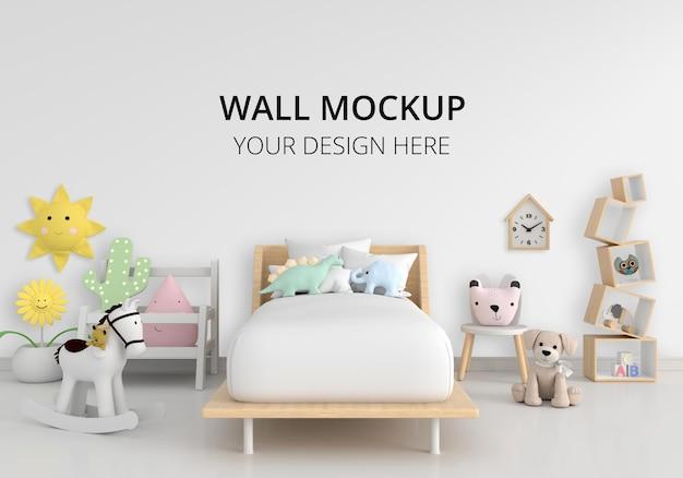 Interior de quarto infantil branco com maquete de parede