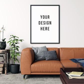 Interior de sala de estar de maquete de quadro com decorações