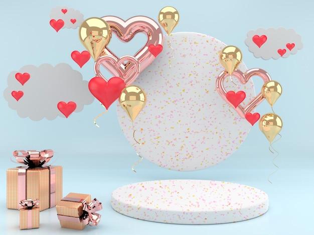 Interior do dia dos namorados com pedestal, corações.