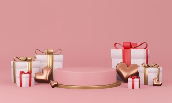 Interior do dia dos namorados com plataforma rosa pastel, corações, suporte, pódio, pedestal para mercadorias