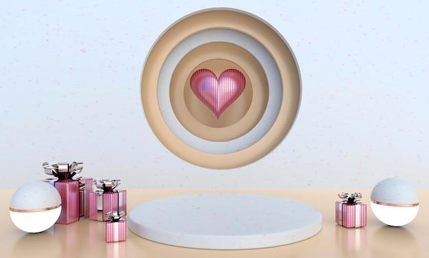Interior do dia dos namorados com renderização de pedestal e corações