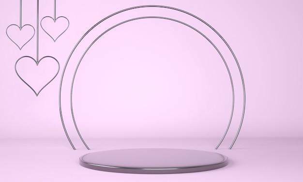 Interior do dia dos namorados com renderização de pedestal