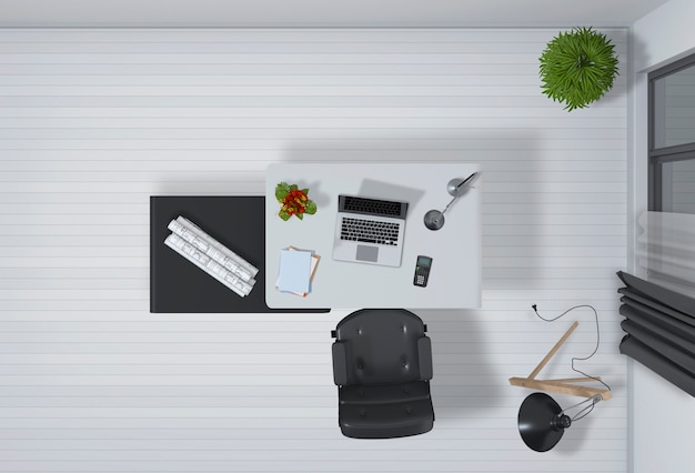 Interior do escritório com renderização 3d vista superior do computador desktop