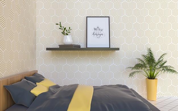 Interior do modelo da moldura do pôster em um quarto