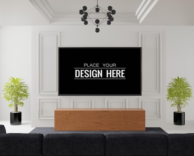 Interior do modelo de quadro de tv na sala de estar