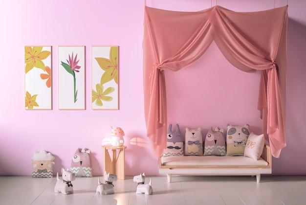 Interior do quarto infantil com molduras de maquete