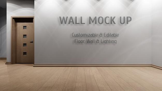 Interior editável com parede em branco